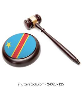 Judge gavel and soundboard with national flag on it - Democratic Republic of the Congo - Congo-Kinshasa