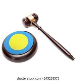 Judge gavel and soundboard with national flag on it - Palau