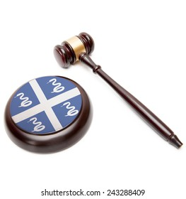 Judge gavel and soundboard with national flag on it - Martinique