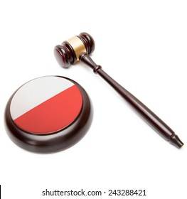 Judge gavel and soundboard with national flag on it - Poland