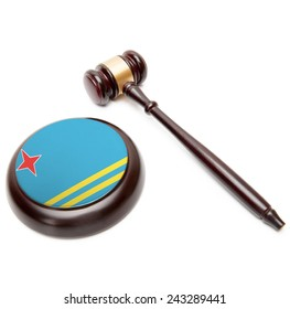 Judge gavel and soundboard with national flag on it - Aruba