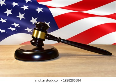 Judge hammer against the background of the American flag. Justice concept in courtroom. Mallet of judge on law theme and legal system. Risk tools help judges decide and punishment