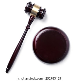 Judge hammer on a white background