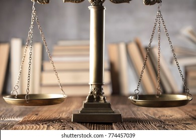 Judge, justice concept background. Gavel, statue of justice, scale.