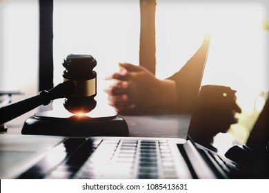 judge and justice concept, client listening judgement,punishment to law in courtroom.