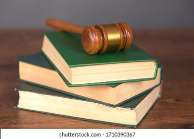 judge on book on the table background