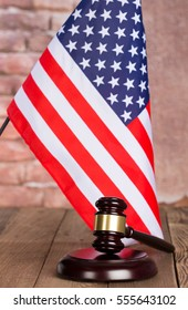 Judge s gavel with the United States flag