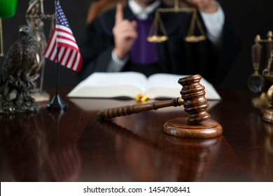 Judge striking gavel. Law and justice concept.