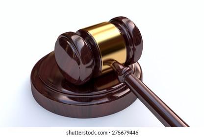 Judge, wooden gavel on white background