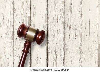 Judge Wooden mallet on light background. Wooden gavel. Laws and justice.