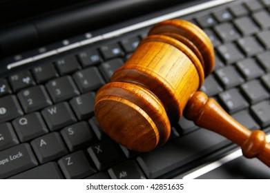 judges court gavel closeup  on a laptop