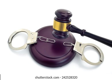 JUDGE'S DECISION FOR SETTING FREE 3 -  A gavel brakes the chain of the handcuffs ordering to set free.