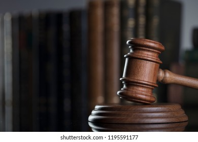 Judge's gavel, books. Law concept.