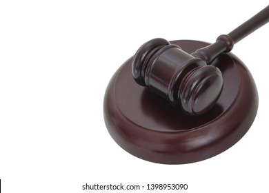 Judge's gavel isolated on white background with copy space