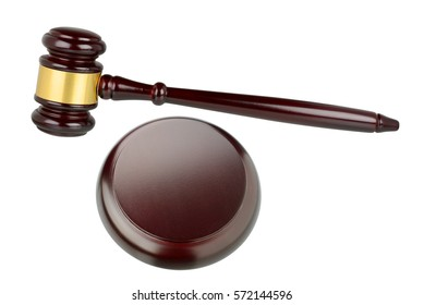Judges gavel isolated on white background with clipping path