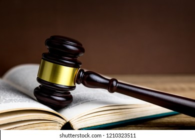 Judges gavel  for judgment in courtroom or hammer for auction and book.litigation and prosecution concept.