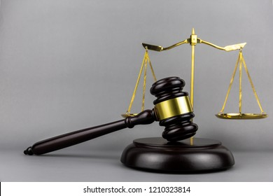 Judges gavel  for judgment in courtroom or hammer for auction.litigation and prosecution concept.free space.