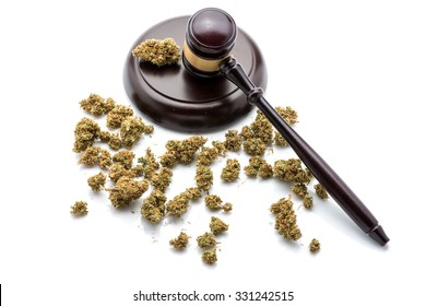 Judges gavel with marijuana