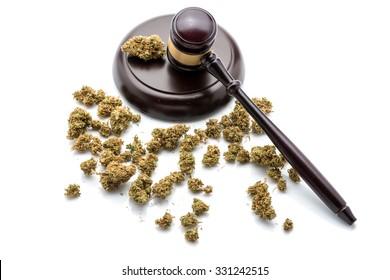 Judges gavel with marijuana