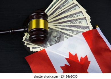 Judge's gavel with money and canadian flag