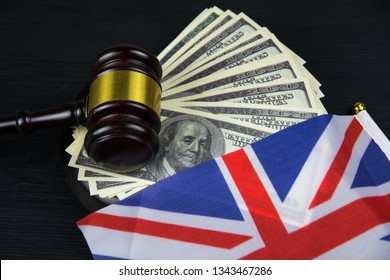 Judge's gavel with money and English flag
