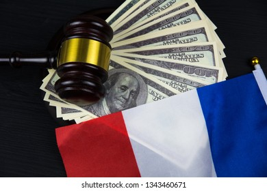 Judge's gavel with money and French flag