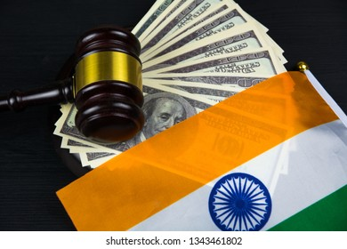 Judge's gavel with money and indian flag