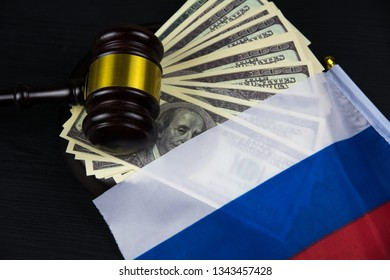 Judge's gavel with money and Russian flag