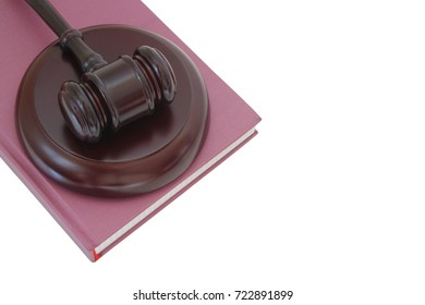 Judge's gavel on legal book isolated