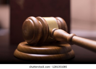 Judge's gavel on table