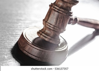 Judges Gavel Over Black Background