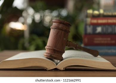Judges gavel resting on open law books.  concept of legal ruling Jurisprudence, law education.