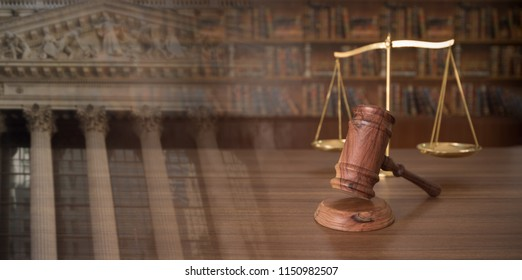 Judges gavel and scales of justice with court government. concept of law, legal, jurisprudence.