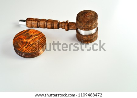 A Judges Gavel With Sound Block Or Anvil Isolated In Upper Left Corner Room For