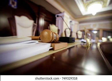 Judge's hammer in a courtroom