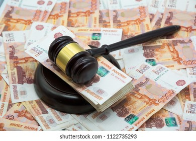 Judge's hammer gavel and rubles money