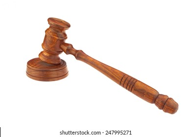 Judges or Presiding Officer or Auctioneers Hardwood Gavel Isolated on White Background