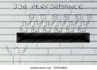judges showing the word Winner instead of a score to a happy candidate