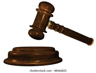 Judge's Wooden Gavel, close up over white