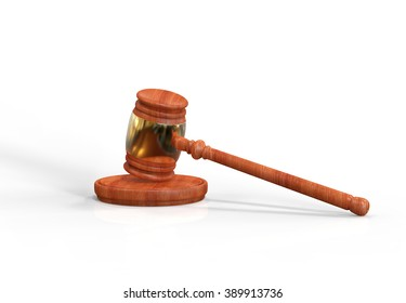 Judge's wooden gavel with golden rim isolated on white background. Hammer on stand. Gavel illustration for business, finance and criminal judge decisions and verdicts