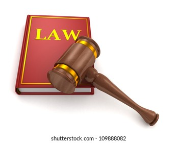 Judges wooden gavel and law book on white background
