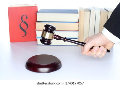 judgment decision with symbolic gavel on a desk