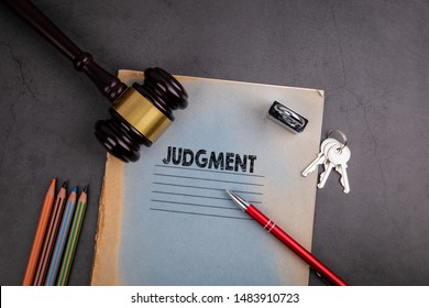 Judgment, fair justice and human rights concept. Notebook and pen on gray desk