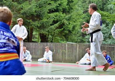 judo coach explaining something to his pupils at the summer camp Judo summer assembly - 08/27/2017 - Czech republic, Rudolfova Pila