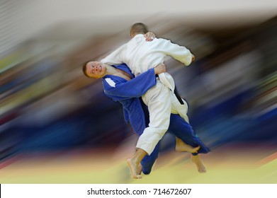 Judo counter throw with motion blur