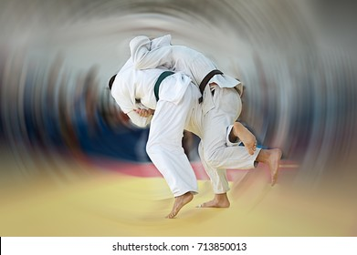 Judo throw with motion blur