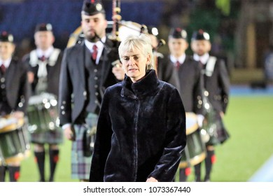 Judy Murray is the Guest of Honour in the Scotland v England Ladies 6 Nations Championship game. Scotstoun Stadium, Glasgow, UK : 23 February 2018 : Pic Mick Atkins