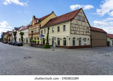 JUETERBOG, GERMANY - MAY 23, 2021: Streets of old town. Juterbog is a historic town in north-eastern Germany, in the district of Brandenburg.