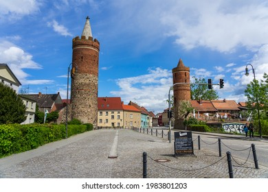 JUETERBOG, GERMANY - MAY 23, 2021: Watchtower. Remains of the fortress wall. Juterbog is a historic town in north-eastern Germany, in the district of Brandenburg.