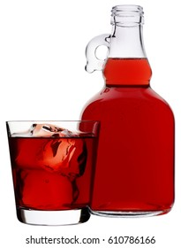 JUG AND GLASS OF POMEGRANATE JUICE CUT OUT